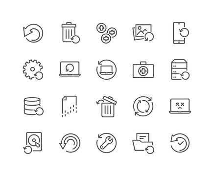 Simple Set of Recovery Related Vector Line Icons. Contains such Icons as Restore Data, Backup, Medikit and more. Editable Stroke. 48x48 Pixel Perfect.