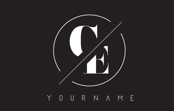 CE Letter Logo with Cutted and Intersected Design