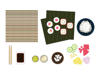 Sushi ingredients set flat lay: nori, rolls maki, wasabi, chopsticks, soy sauce bowl, plate of rice, bamboo, cucumber, avocado, tuna, lemon, oion, cheese isolated on white background top view.