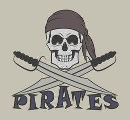 Skull in a bandana with sabers and text. Color illustration on a pirate theme