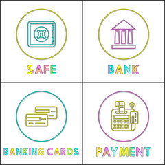 Wall Mural - Safe Online Bank Round Linear Bright Icons Set