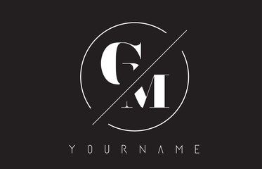 GM Letter Logo with Cutted and Intersected Design