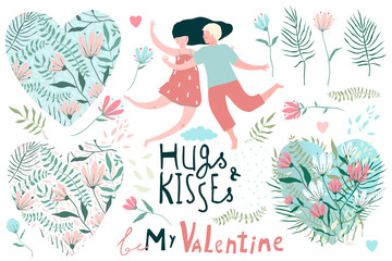 Valentines Clip art Collection Hearts and Lovers