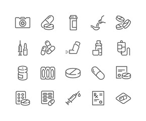 Simple Set of Medical Drugs Related Vector Line Icons. Contains such Icons as Prescription, Inhaler, Pill and more. Editable Stroke. 48x48 Pixel Perfect.