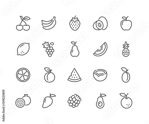 Wall mural Simple Set of Fruits Related Vector Line Icons. Contains such Icons as Strawberry, Orange, Watermelon and more. Editable Stroke. 48x48 Pixel Perfect.