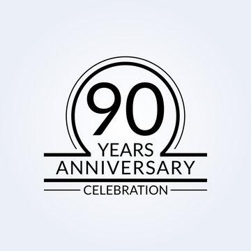 90 years anniversary logo. 90th Birthday celebration icon. Party invitation, Jubilee celebrating emblem or banner. Vector illustration.