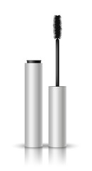 Vector realistic blank glossy mascara open and closed with black brush, shadow and reflection on white background