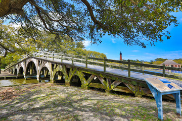 The historic landmark footbridge in Currituck Heritage Park leads to the Whalehead Club. This is located in the Outer Banks of North Carolina.