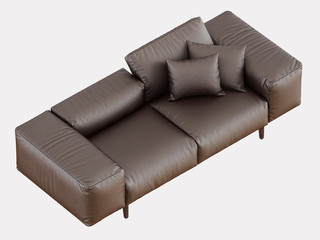 Brown soft leather sofa on a white background 3d rendering