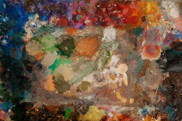 Color palette closeup, paintbrush art drawing