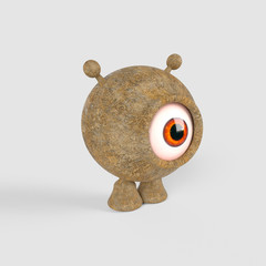 A little, spherical, one eyed alien made with concrete. 3d render