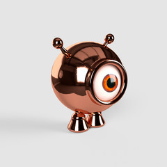 A little, spherical, one eyed alien made with copper. 3d render