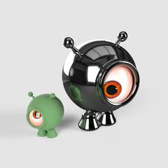 Two little, spherical alines. 3d render