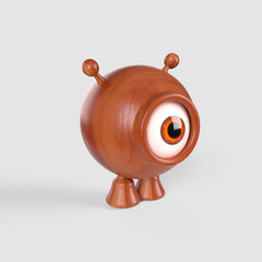 A little, spherical, one yed alien made with wood. 3d render