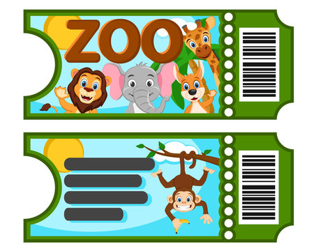 A ticket to the zoo with wild animals on a white.