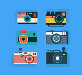 Set of camera vintage Flat design in different color and texture. Vector stylization