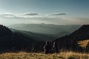 Anonymous couple admiring wonderful view