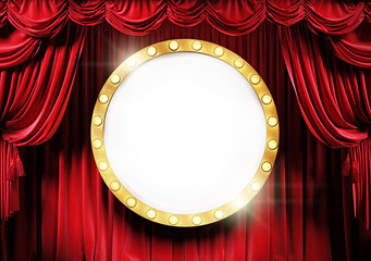 golden round frame with shining lighting bulbs on the theater stage with red velvet curtains. Space for text.
