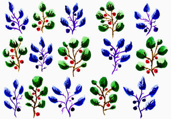 Watercolor pattern with natural elements