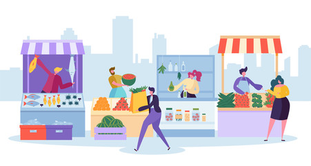 Fresh Food Market Stand. Organic Local Farm Store. Man Customer Character Buy Grocery and Fish in Small Eco Shop. Healthy Goods Supermarket Shelf Concept Flat Cartoon Vector Illustration