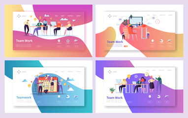 Office Teamwork Meeting Landing Page Set. Business People Work Together at Professional Workplace. Freelancer Character Group Communication Concept for Web Page. Flat Cartoon Vector Illustration