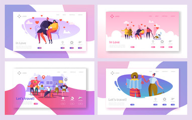 Love Couple Travel in Park Landing Page Set. Romantic People Dating on Bench Outdoor. Happy Hipster Character Vacation Lifestyle Concept for Web Page. Flat Cartoon Vector Illustration