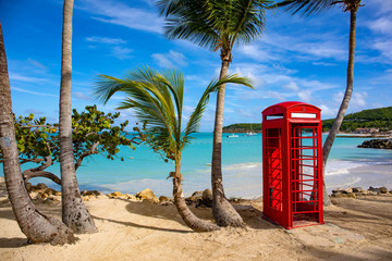 Telephone booth on the beach in Antigua, Antigua & Barbuda