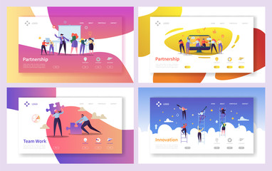 Business People Teamwork Innovation Landing Page Set. Creative Character Team Partnership to Increase Company Success Growth. Businessman Partner Concept for Web Page. Flat Cartoon Vector Illustration