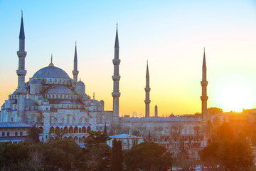 The Sultan Ahmed Mosque, or the Blue Mosque, in Istanbul, Turkey