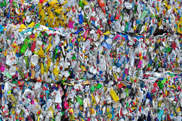 Plastic recycling of PET bottles, recycle industry.