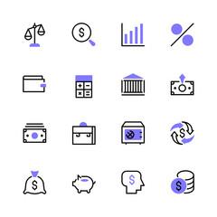 Icon set money, bank, finance