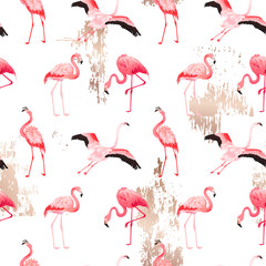 Canvas Prints Flamingo Tropical Flamingo seamless vector summer pattern with golden stains. Bird background for wallpapers, web page, texture, textile