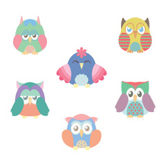 Collection of six colorful owls