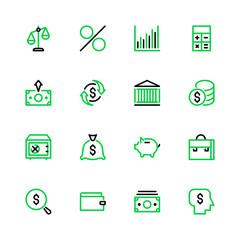 Icon set money, bank, finance in linear style