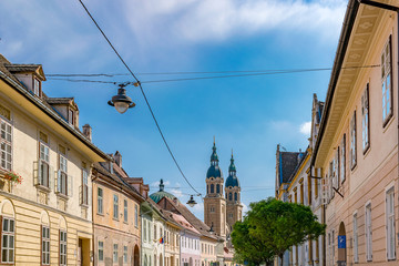 Sibiu, Romania - Beautiful street with Holy Trinity Cathedral on a sunny summer day in Sibiu, Romania