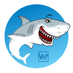 Shark with open mouth. Wild calligraphy sign