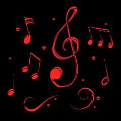 Cartoon group musical notes, music notes set – vector