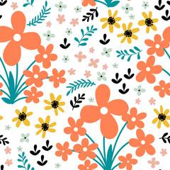 Fototapete - Hand drawn floral seamless pattern