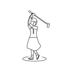 golfer woman with stick golf
