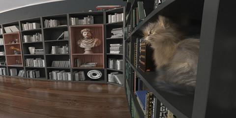 Stanza di un interno domestico, casa, salatto, studio con libreria e gatto, illustrazione 3d, rendering 3d