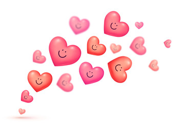 Red and pink floating smiling hearts Valentine's day vector greeting card background