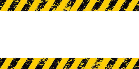 Warning frame yellow black diagonal stripes, vector grunge texture warn caution, construction, safety grunge background