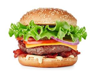 Fototapeta hamburger isolated on white background obraz