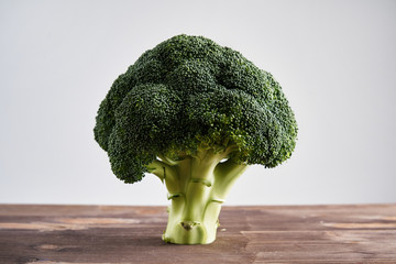 Perfect fresh broccoli on light wooden background stands as a tree. Concept of healthy food and nutrition.
