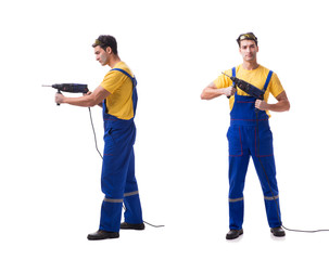 Contractor employee with hand power drill on white background