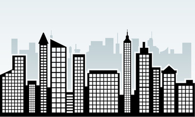 city skyline silhouette with window vector illustration