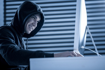 Smart professional joyful hacker committing cyber crime
