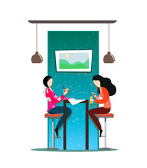 The girls sit on the bar stools at the table and talk. Vector illustration on white background. Flat Characters