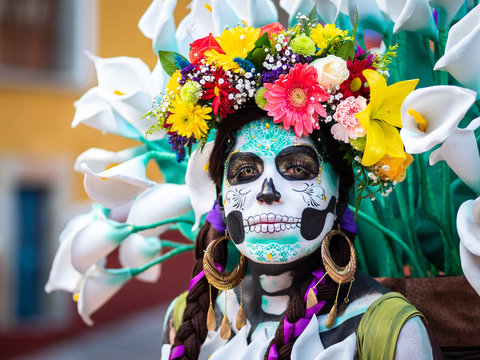 Portrait of a Woman with Day of the Dead Costumes and Skull Makeup, Guanajuato, Mexico