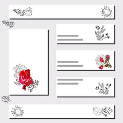 Floral card templates with red rose and black rose silhouette.